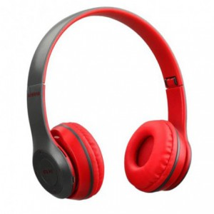 Geeko iPerfect Bluetooth Wireless On Ear Stereo Headphones - Grey and Red