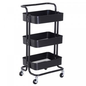 3 Tier Multi Functional Trolley - Black