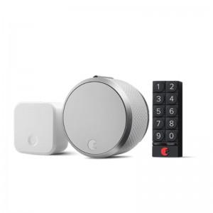 August Smart Lock Pro + Connect Wi-Fi Bridge + Keypad - 3rd Gen (Silver)