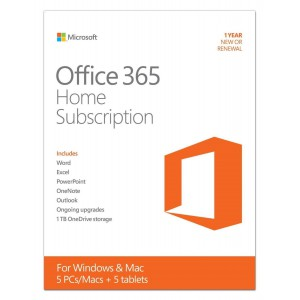 Microsoft Office 365 Home Premium 1 Year Subscription - Medialess