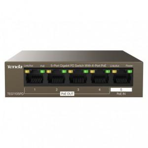 Tenda 5 Port Gigabit with 4 PoE and 1 PoE Input Desktop Switch, New