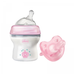 Chicco Natural Feeling Bottle 150ML & Micro Soother (0-2 months) - Pink