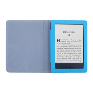 "Amazon Kindle 6"" 2014 7th Gen PU Leather Folding Folio Skin Cover Case - Deep Sky Blue"