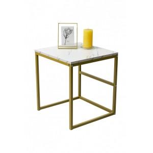Dante Side Table - White Marble - Medium