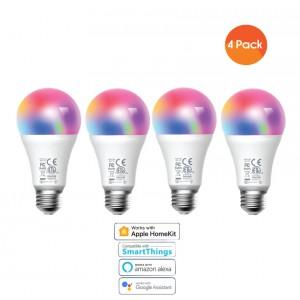 Meross Smart Wi-Fi LED 9W Bulb E27 (Screw in) - Alexa/Google/Homekit compatible - 4 Pack