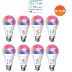 Meross Smart Wi-Fi LED 9W Bulb E27 (Screw in) - Alexa/Google compatible - 8 Pack