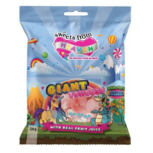 Sweets from Heaven – Giant Unicorn and Dinosaur Tongues – 125g Bag (Pack of 24)