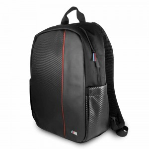 """BMW Computer Backpack 2 Pockets Carbon Pu & Red Stripe 15"""""""