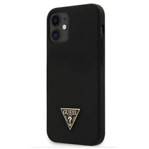 Guess - Silicone Metal Triangle Hard Case iPhone 12 Mini - Black