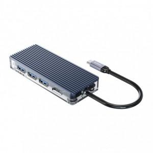 Orico Type-C 7-in1 USB3.0|HDMI|Type-C|TF&SD Transparent Hub – Grey
