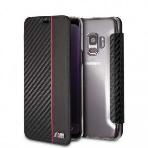 BMW - Flip Case Transparent Back Red Stripe Samsung S9 - Black