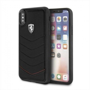 Ferrari - Quilted Leather Hard Case iPhone X / XS - Black