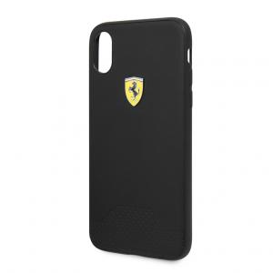 Ferrari - Pu Rubber Soft Touch Perforated iPhone X / XS - Black