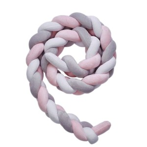 Nuovo - Knot Cot Bumper - Pink/Grey/White