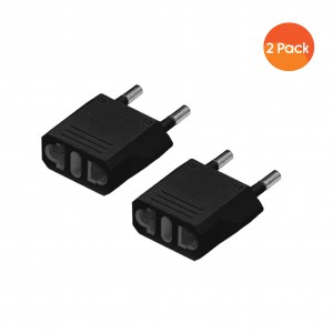 USA To European South African Power Plug Converter (2 Round-Pin Plug) - 2 pack