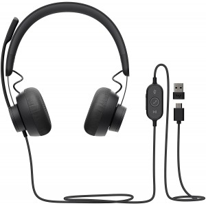 Logitech Zone Wired Headset, Certified for Microsoft Teams with Advanced Noise-canceling mic Technology for Open Office environments, USB-C with USB-A Adapter, Graphite