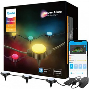 Govee RGBIC  Smart WiFi+Bluetooth Outdoor Ground Lights with IP67 Waterproof - Alexa/Google Home enabled