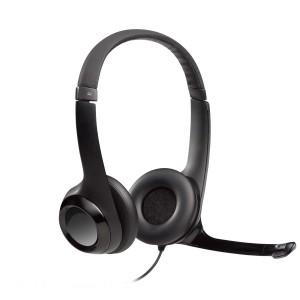 Logitech Headset H390 Black USB Stereo Internet headset adjustable headband Noise cancelling rotating microphone - Black