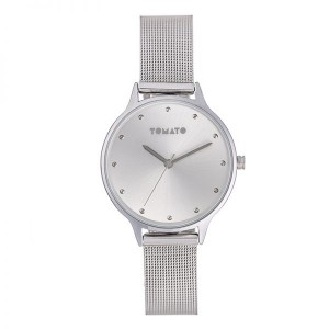 Tomato Ladies Silver 34mm Case & Steel Mesh Band Watch