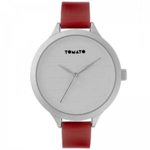 Tomato Ladies White Dial IPS 42mm Case Red Strap Watch