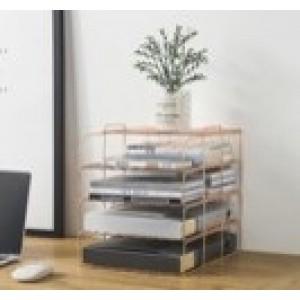 Fine Living File Organizer - 4 Tier - Rose Gold