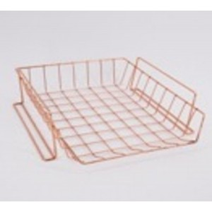 Fine Living A4 Wire Storage Rack  With Hooks - Gold Rose