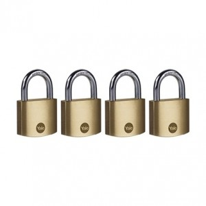 Yale 40mm Brass Padlock - Quad Pack