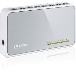 TP-LINK 8 Port Ethernet Mini Desktop Switch, 8x 10/100mbps RJ45 Ports, Plastic Case