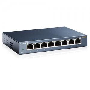 TP-LINK 8 Port Gigabit Desktop Switch, 8x 10/100/1000mbps RJ45 Ports, Steel Case