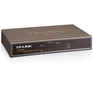TP-LINK 8 Port Ethernet Desktop PoE Switch, 8x 10/100Mbps RJ45 Ports, 4x PoE Ports, Steel Case
