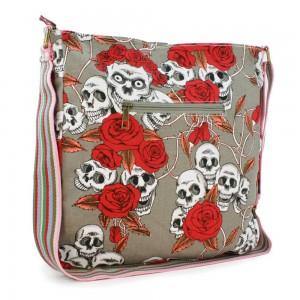 "Tuff-Luv Ladies Canvas Cross Body Lulu Messenger Bag For 10"" Tablets - Skull Gray"