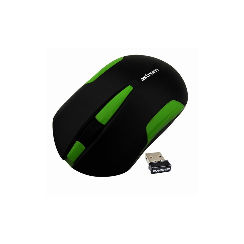 Astrum Aero Wireless Mouse 3 buttons 1000dpi HD Optical 2.4Ghz up to 10 meter-Green