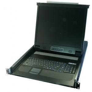 17'' LCD KVM 1U with Integrated KB & Track Pad