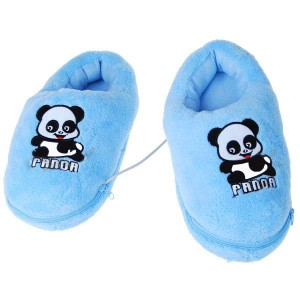Cute Panda USB Powered Foot Warming Soft Slippers - Blue (Pair)