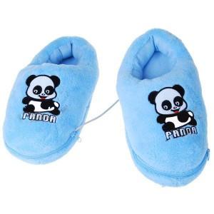 Cute Panda USB Powered Foot Warming Soft Slippers - Blue (Pair)