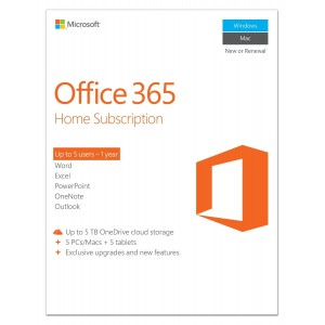 Office 365 Home (5 User) Medialess 1YR Subscrip