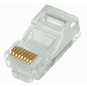 Astrum RJ45 Connector Gold Plated for Cat5e/Cat6e x100 Pieces