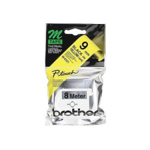 Non Laminated Tape Black On Yellow 8M X 9MM