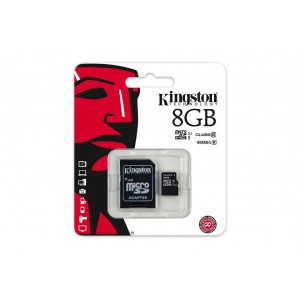 Kingston 8GB microSDHC Class 10 UHS-I 45MB/s Read Card + SD Adapter