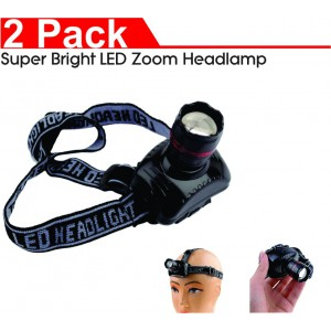 Super Bright LED Zoom Headlamp (2- Pack)