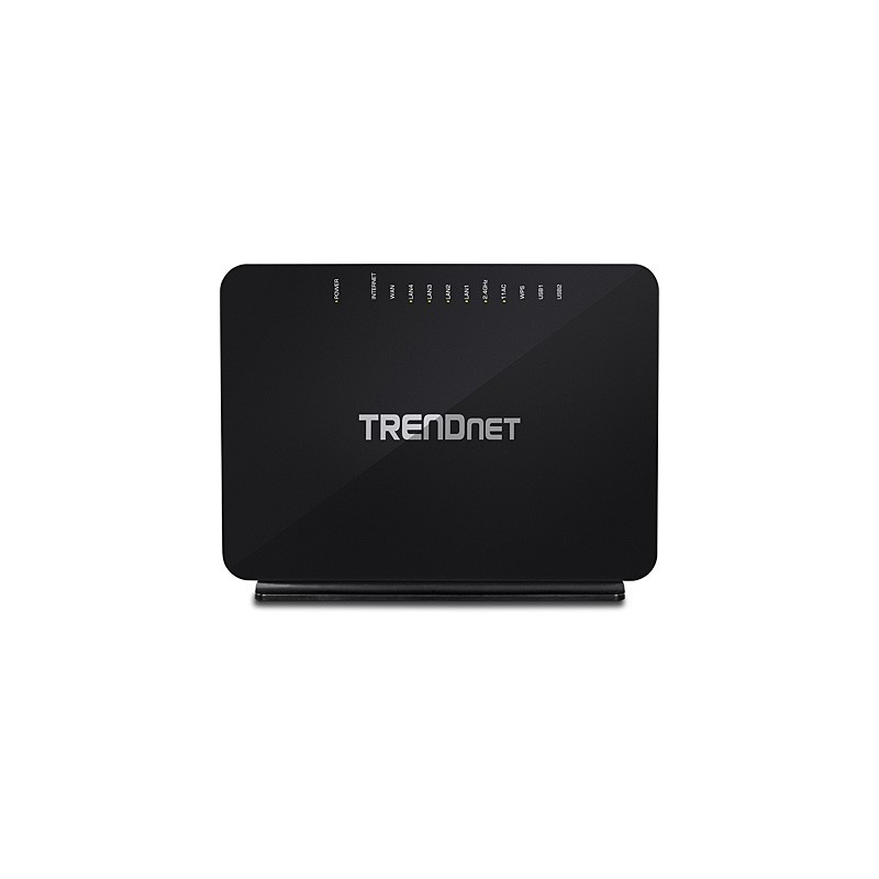 TRENDnet AC750 Dual Band Wireless VDSL2/ADSL2+ Router 4 Gb LAN 1 Gb WAN 1 RJ11 2 USB