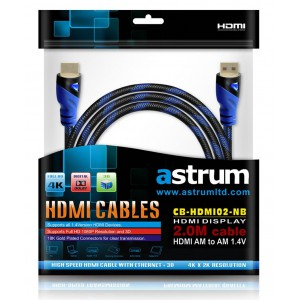 Astrum A31502-B HDMI Cable 2.0m 1.4v Gold Plated 3D Supported