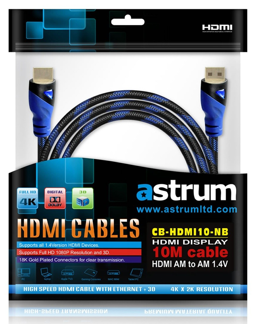 Astrum A31510 B Hdmi Cable 10 Meter Gold Plated 14v Supports 3d Kabel To 10meter Tv Monito Kamera Cctv Laptop