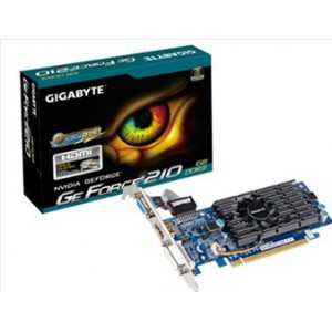GIGABYTE nVidia GeForce 210 - 1024MB DDR3, 64-Bit Memory Bus, PCI Express 2.0