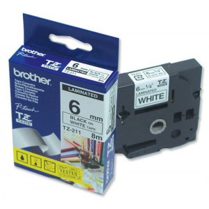 Brother 6MM Black on White Laminated tape