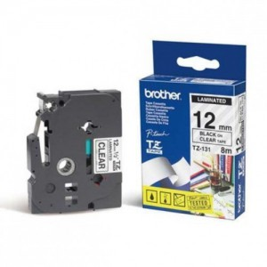 Brother 12MM Black on Clear Laminated tape