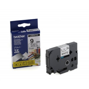 Brother 9MM Black on White Laminated tape