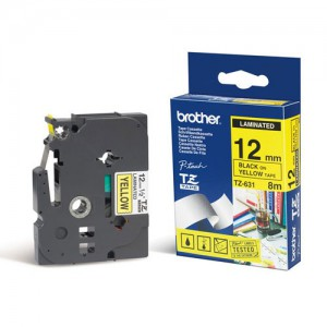 Brother 12MM Black on Yellow Laminated tape