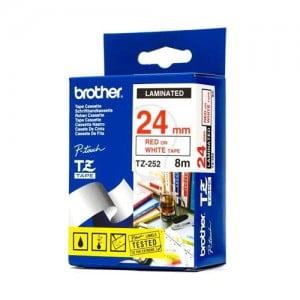 Brother 24MM RED on White Laminated tape