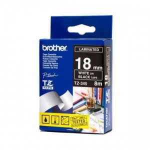 Brother 18MM White on Black Lamiated tape